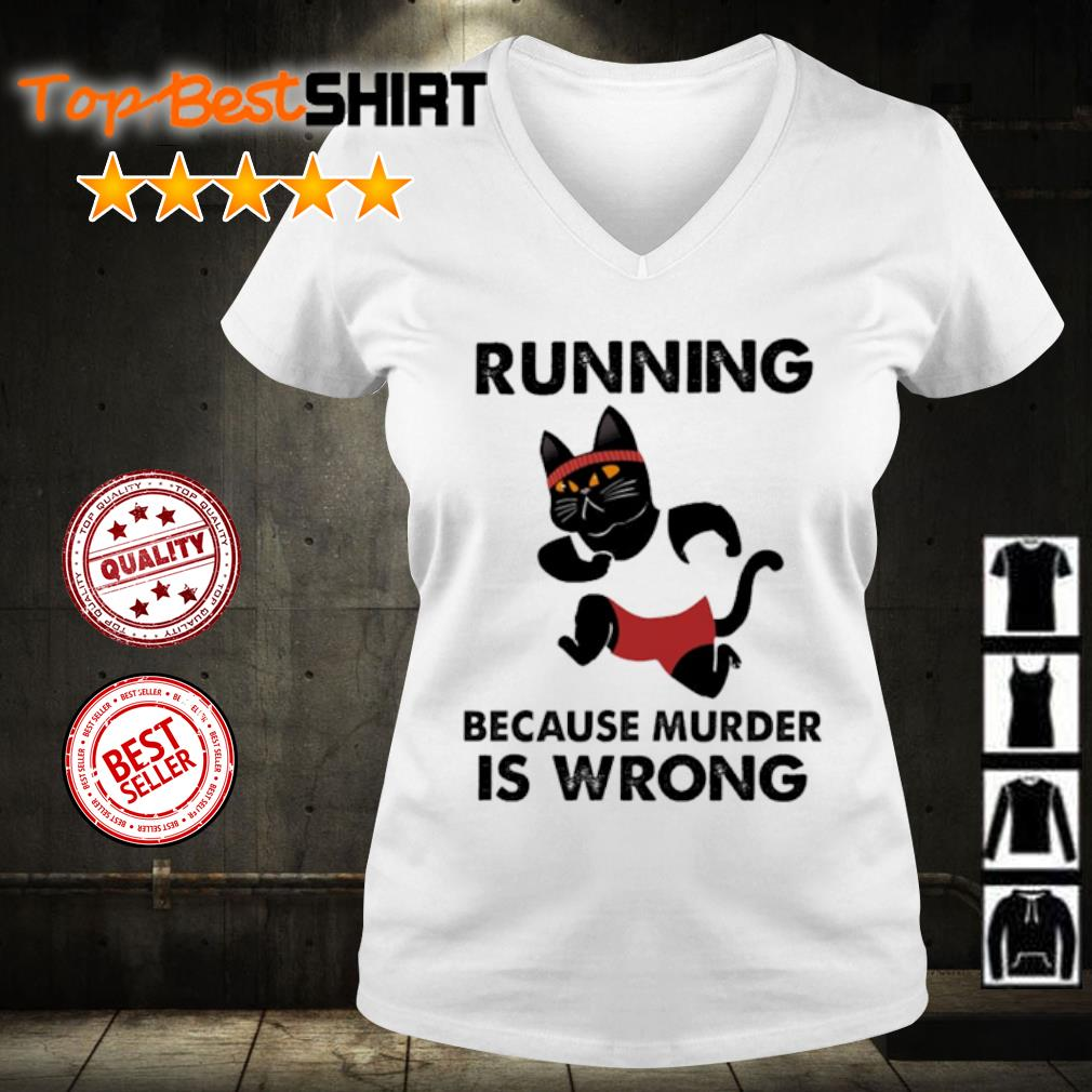 Black Cat Running because murder is wrong s v-neck-t-shirt