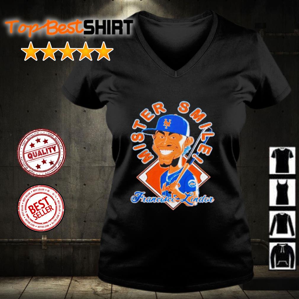 New York Mets Mr. Smile Francisco Lindor Posters s v-neck-t-shirt