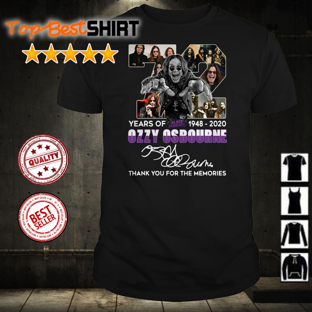 72 years of Ozzy Osbourne 1948 2020 thank you for the memories shirt