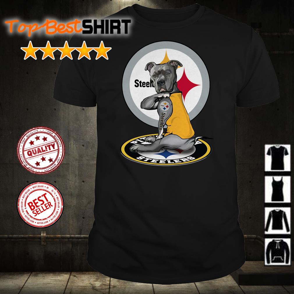 Bulldog Pitbull tattoo Pittsburgh Steelers shirt