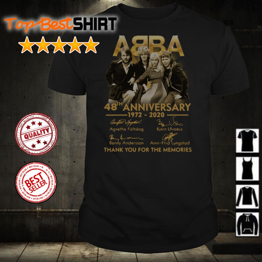 ABBA 48th anniversary 1972 2020 thank you for the memories signatures shirt from Nicefrogtees