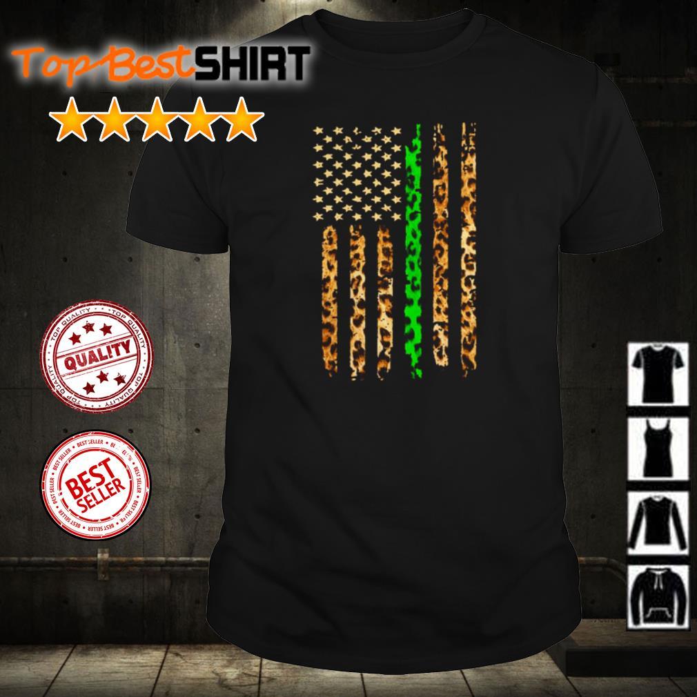 Green Line Leopard American Flag shirt