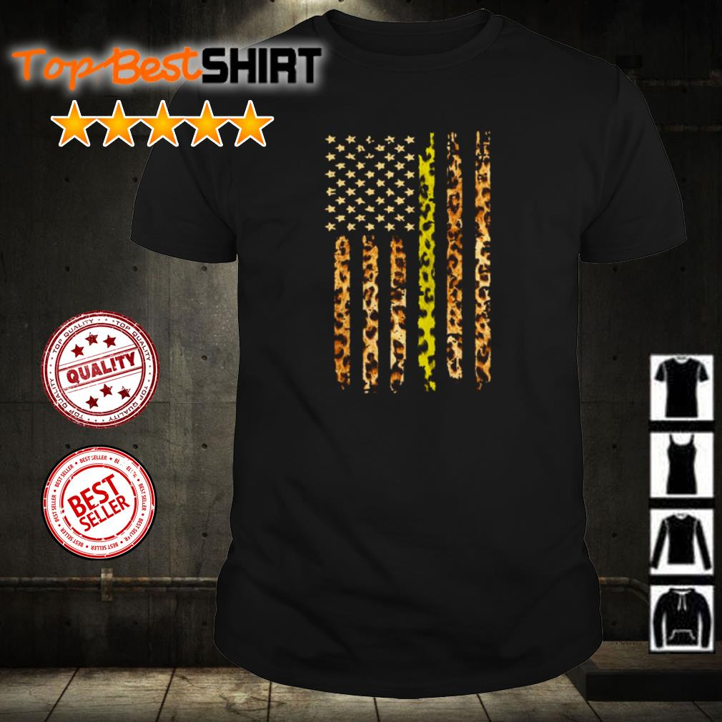 Gold Line Leopard American Flag shirt