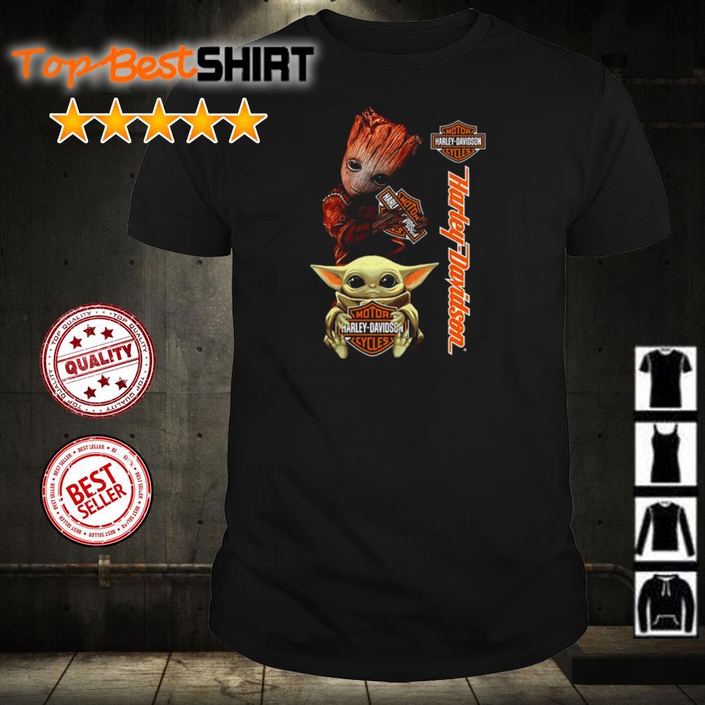 Baby Yoda and Baby Groot hug Motor Harley Davidson Cycles shirt