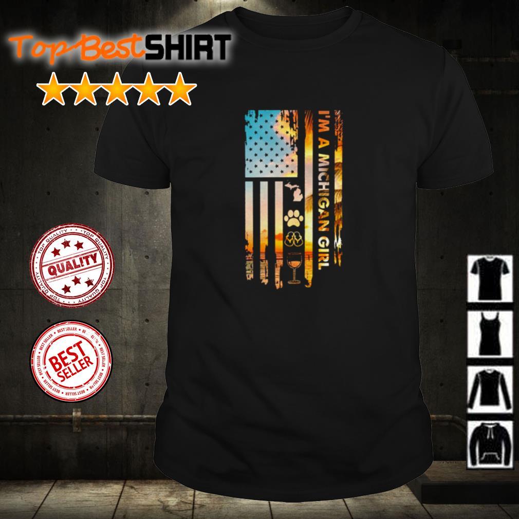 I'm a Michigan Girl USA Flag shirt