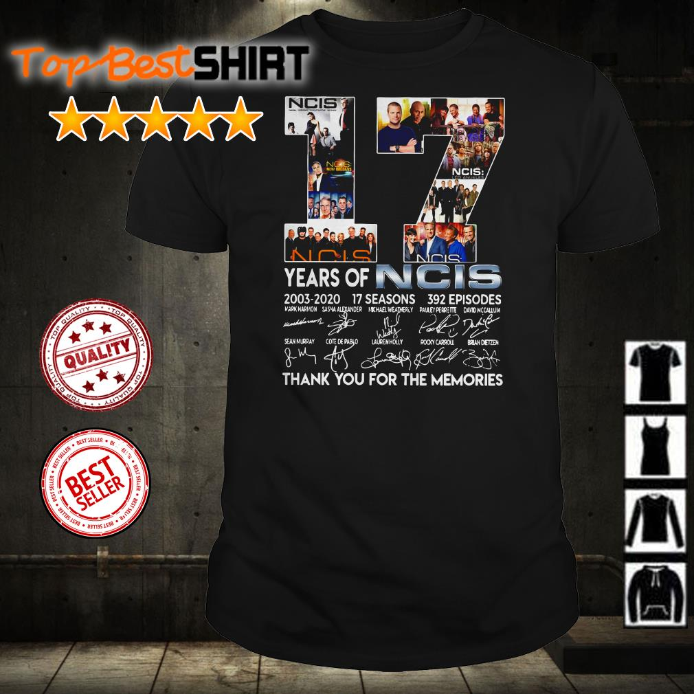 17 years of NCIS 2003 2020 thank you for the memories signatures shirt