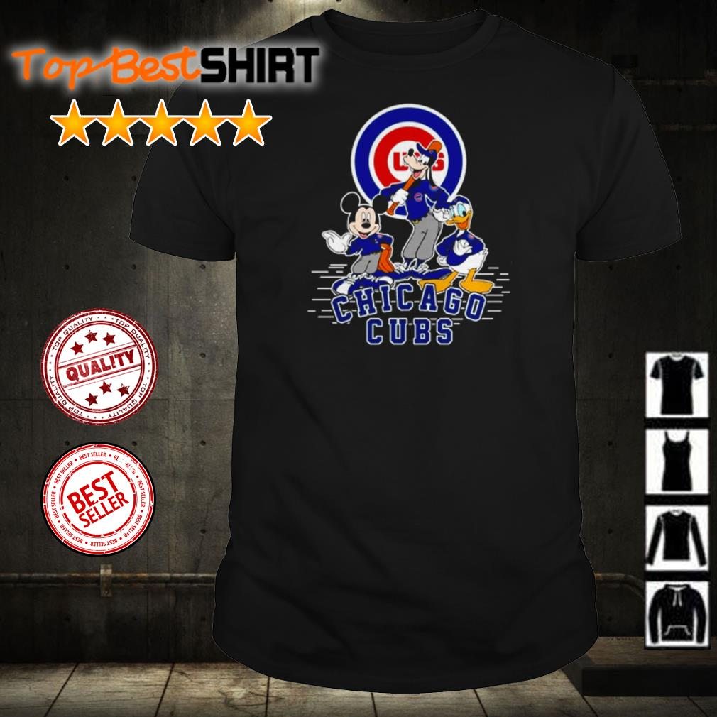 Mickey Mouse Goofy and Donald Duck Chicago Cubs shirt