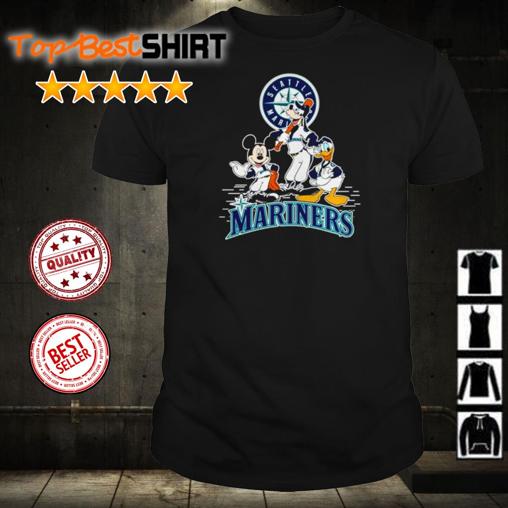 Mickey Mouse Goofy and Donald Duck Seattle Mariners shirt