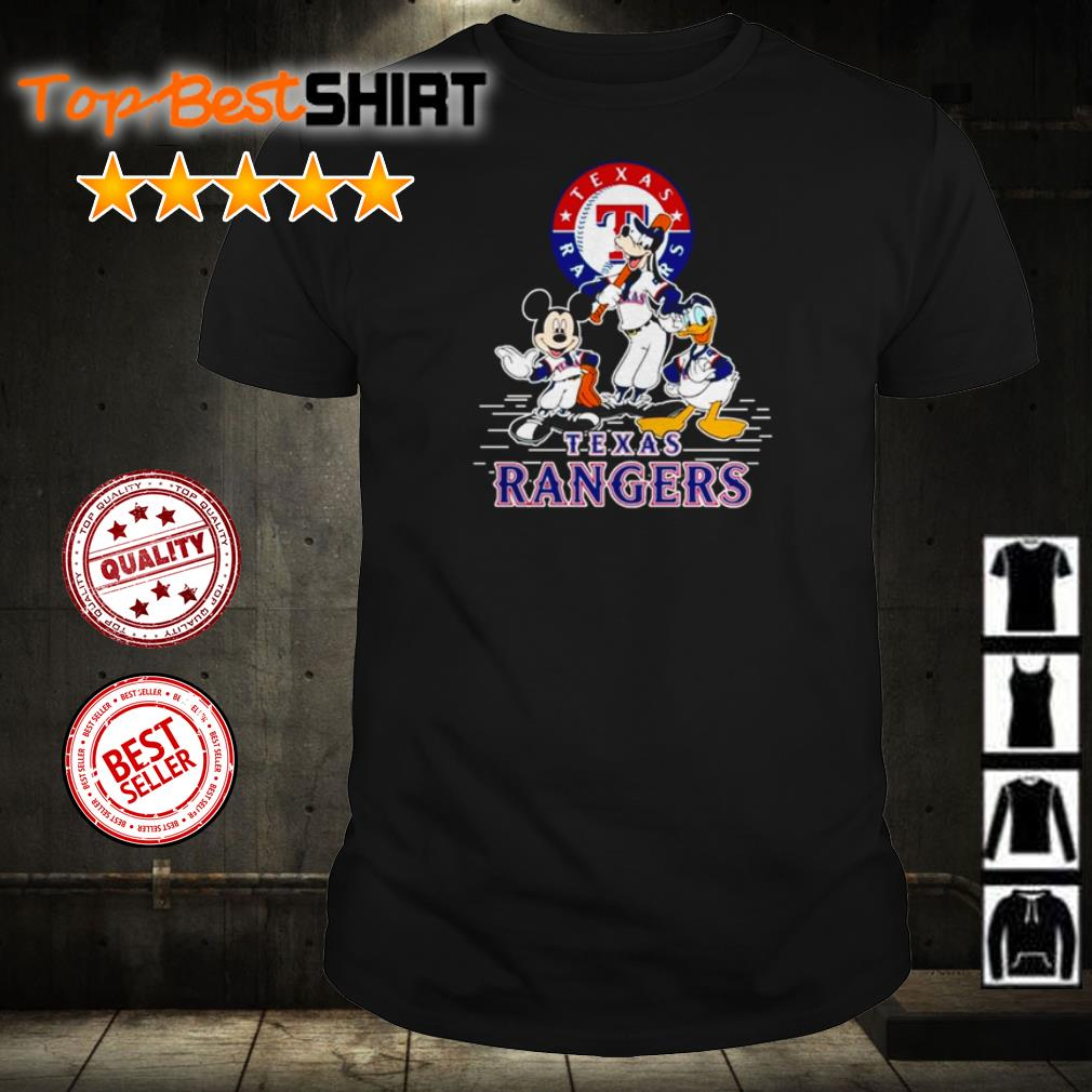 Mickey Mouse Goofy and Donald Duck Texas Rangers shirt