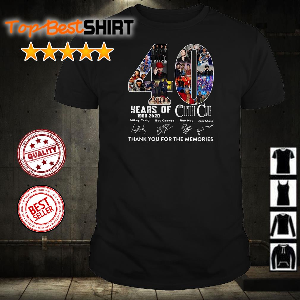 40 years of Culture Club 1980 2020 thank you for the memories shirt