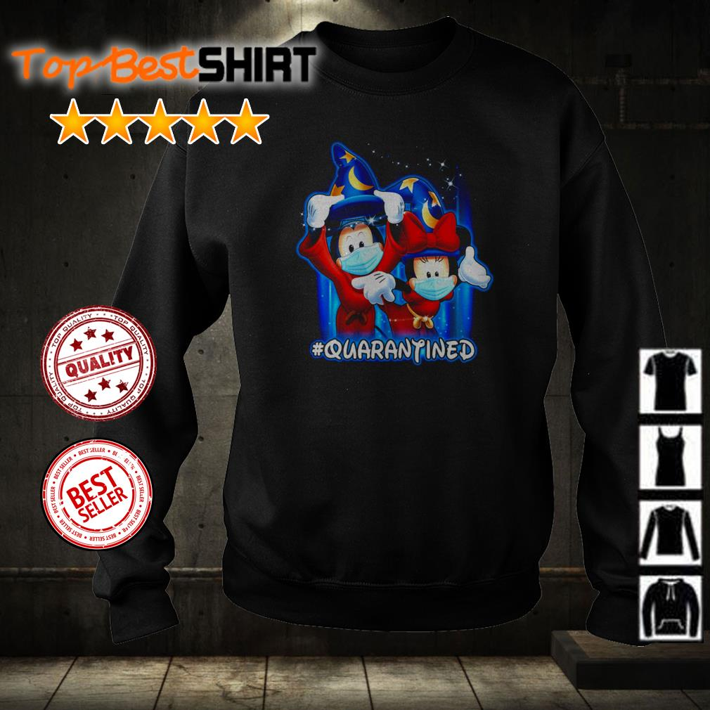 Wizard Mickey Mouse and Minnie wearing mask #quarantined shirt