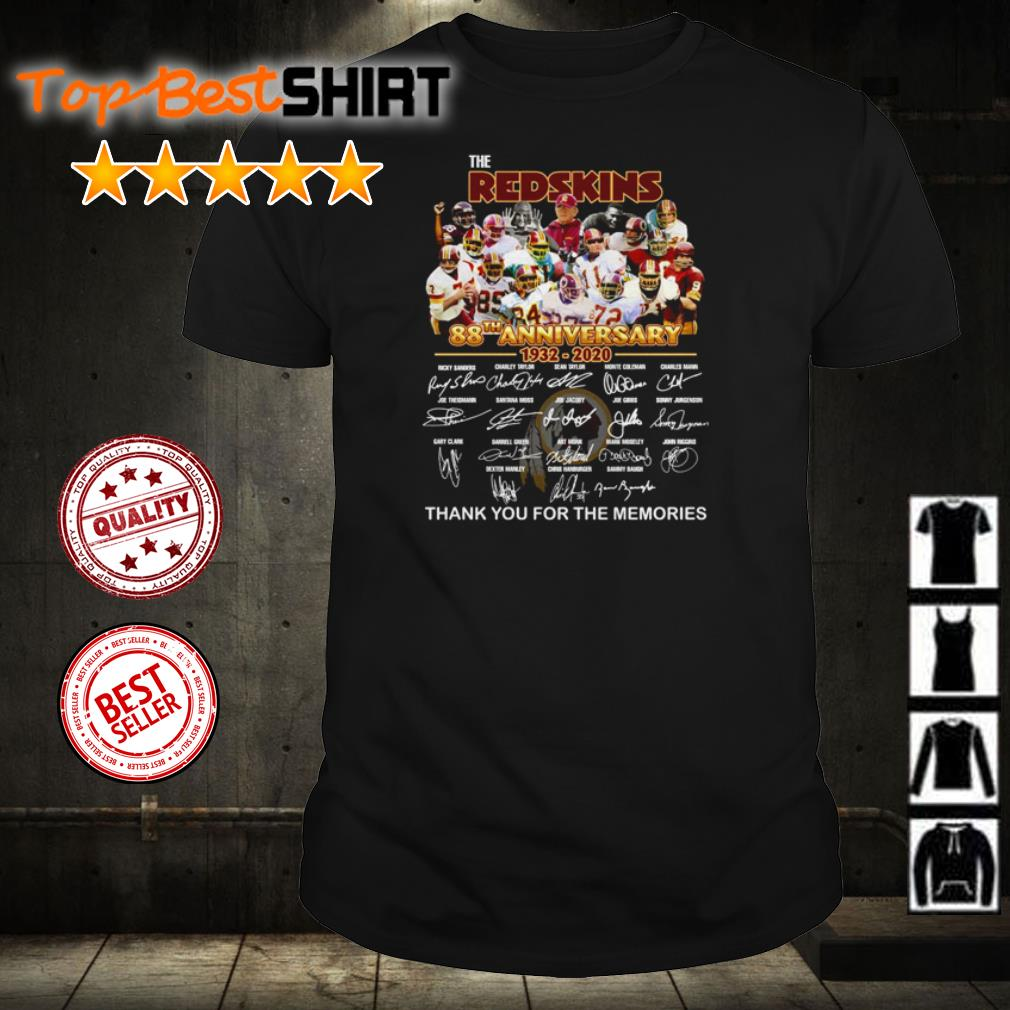 The Washington Redskins 88th anniversary thank you for the memories shirt