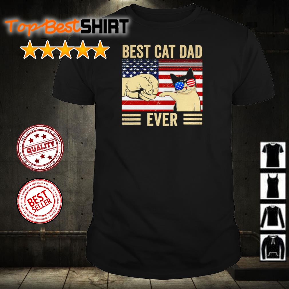 American flag best cat dad ever shirt