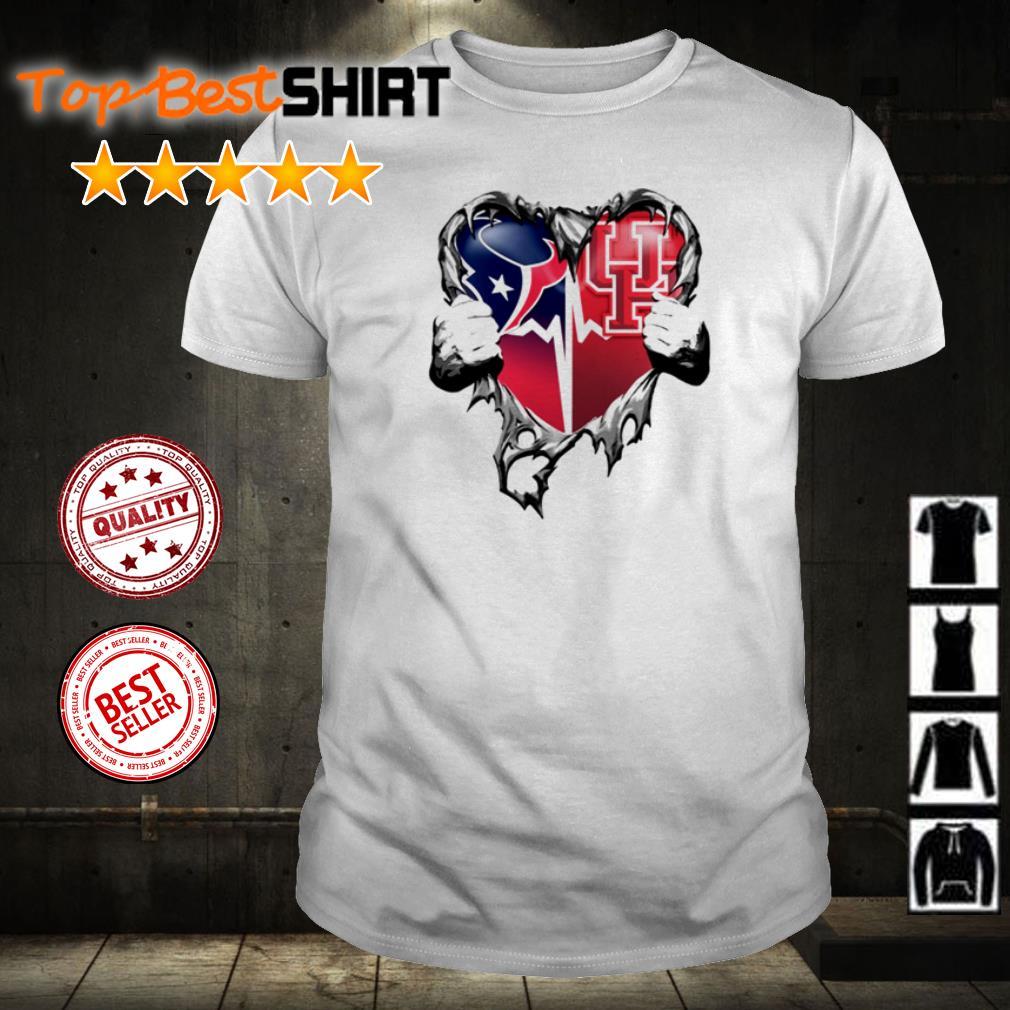 Houston Texans vs Houston Cougars heart ripped shirt
