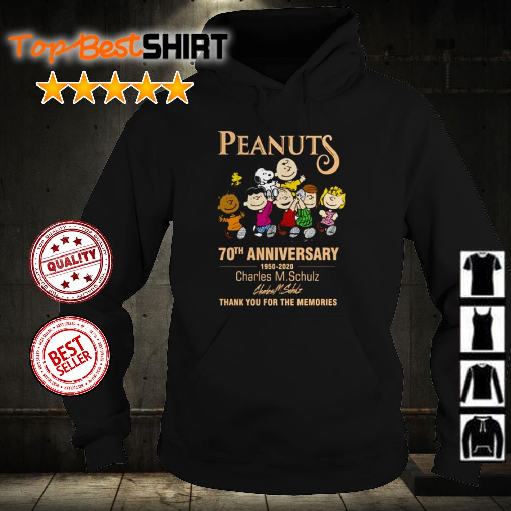 Peanuts 70th anniversary Charles M Schulz thank you for the memories shirt