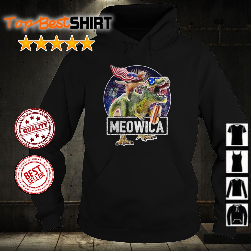 Cat riding T Rex Meowica Flag shirt