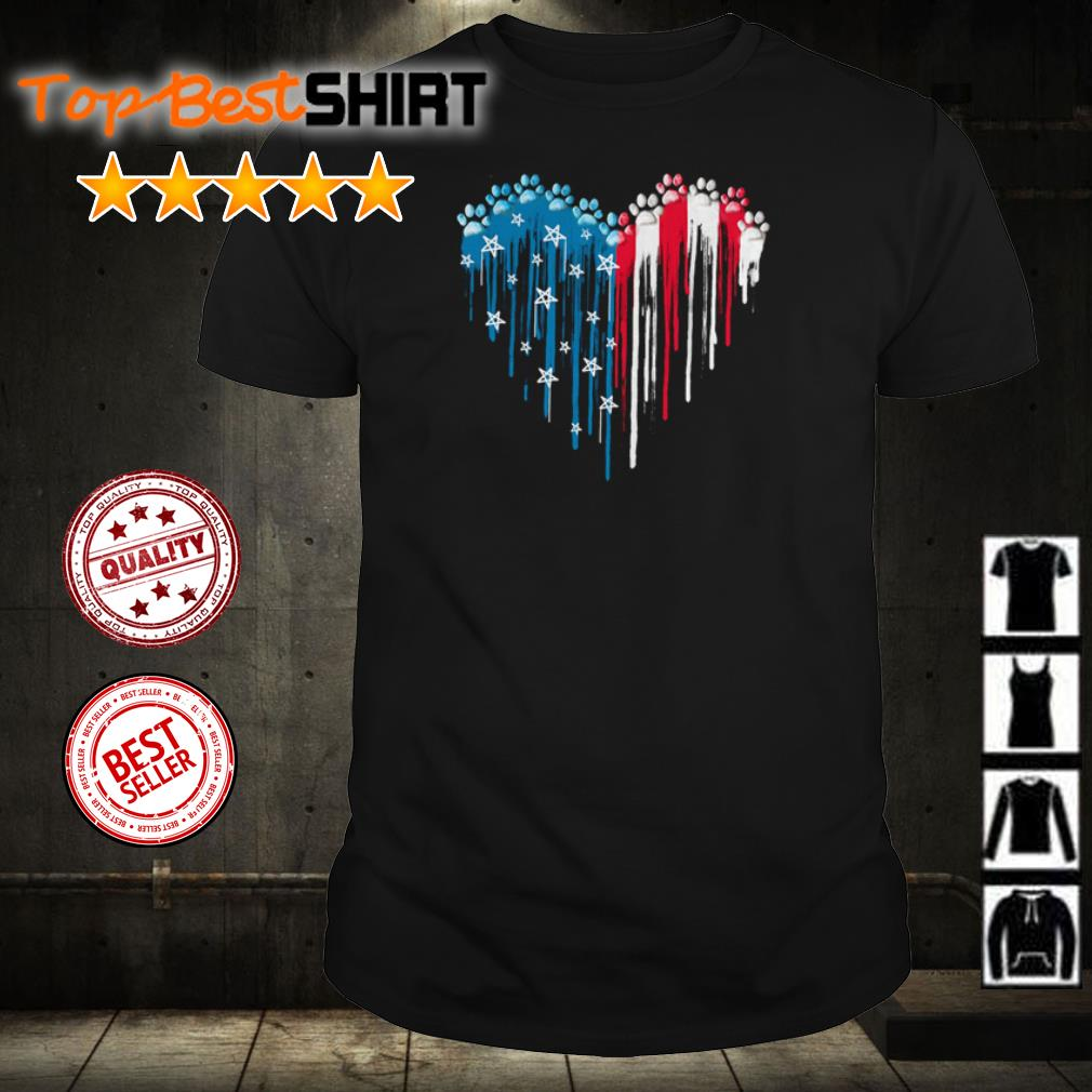 America Flag dog paw paint shirt
