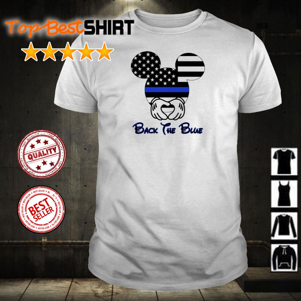 American flag Mickey mouse back the blue shirt