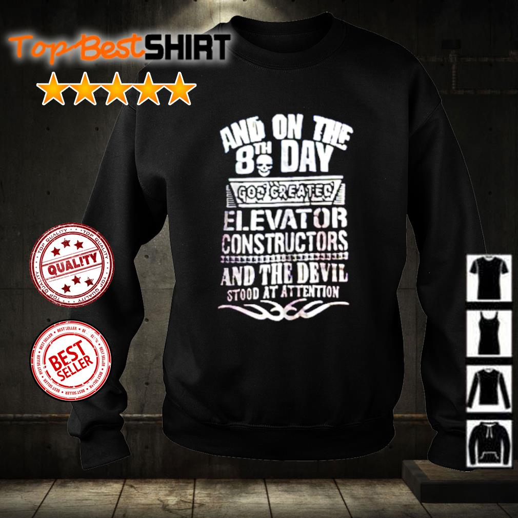 Skull and on the 8th day god created elevator constructors s sweater