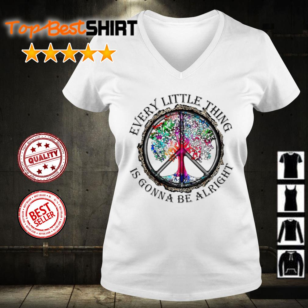 Hippie every little thing is gonna be alright s v-neck-t-shirt