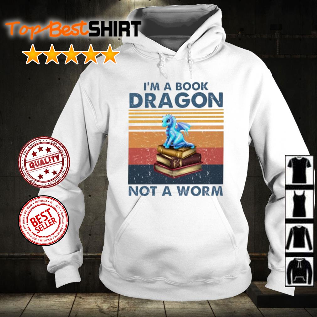 I'm book dragon not a worm vintage s hoodie