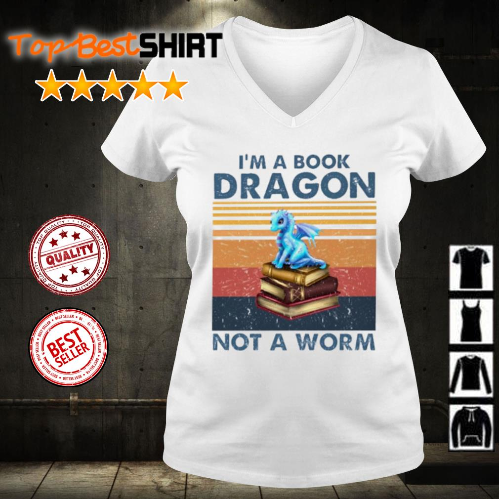 I'm book dragon not a worm vintage s v-neck-t-shirt