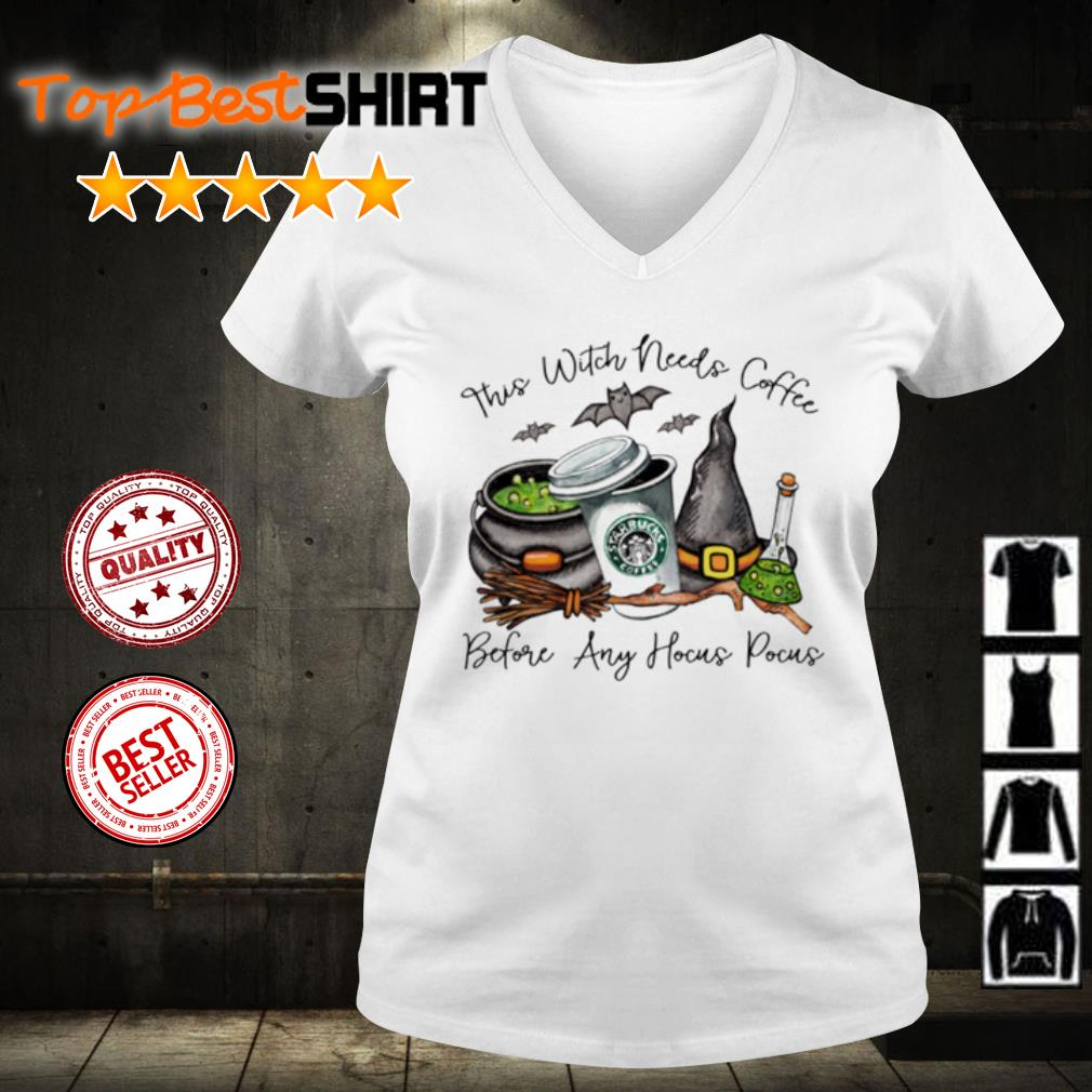 Halloween this witch needs coffee before any Hocus Pocus s v-neck-t-shirt