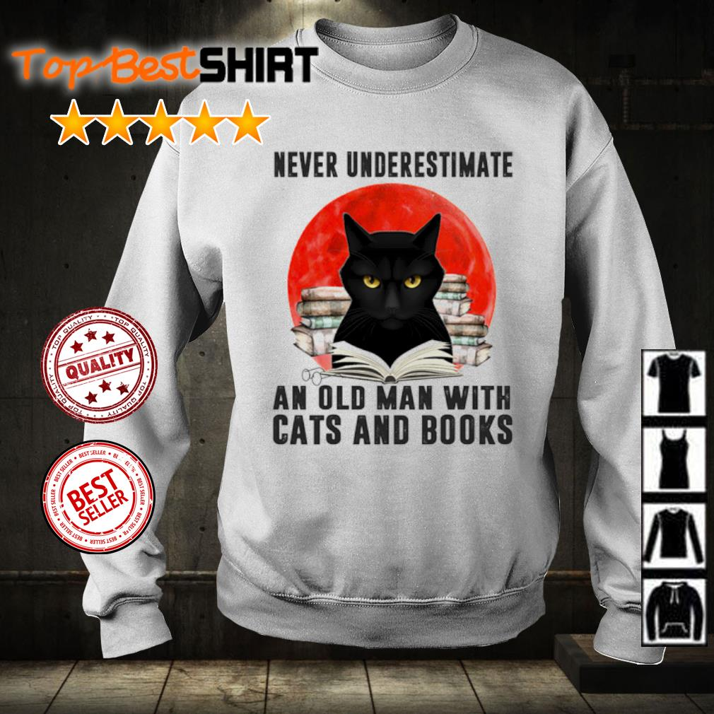 Never underestimate an old man and old man with cats and books s sweater