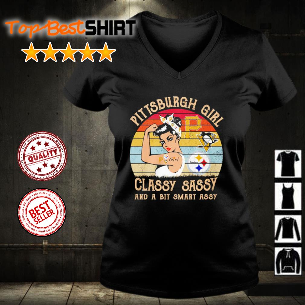 Pittsburgh girl classy sassy and a bit smart assy vintage s v-neck-t-shirt