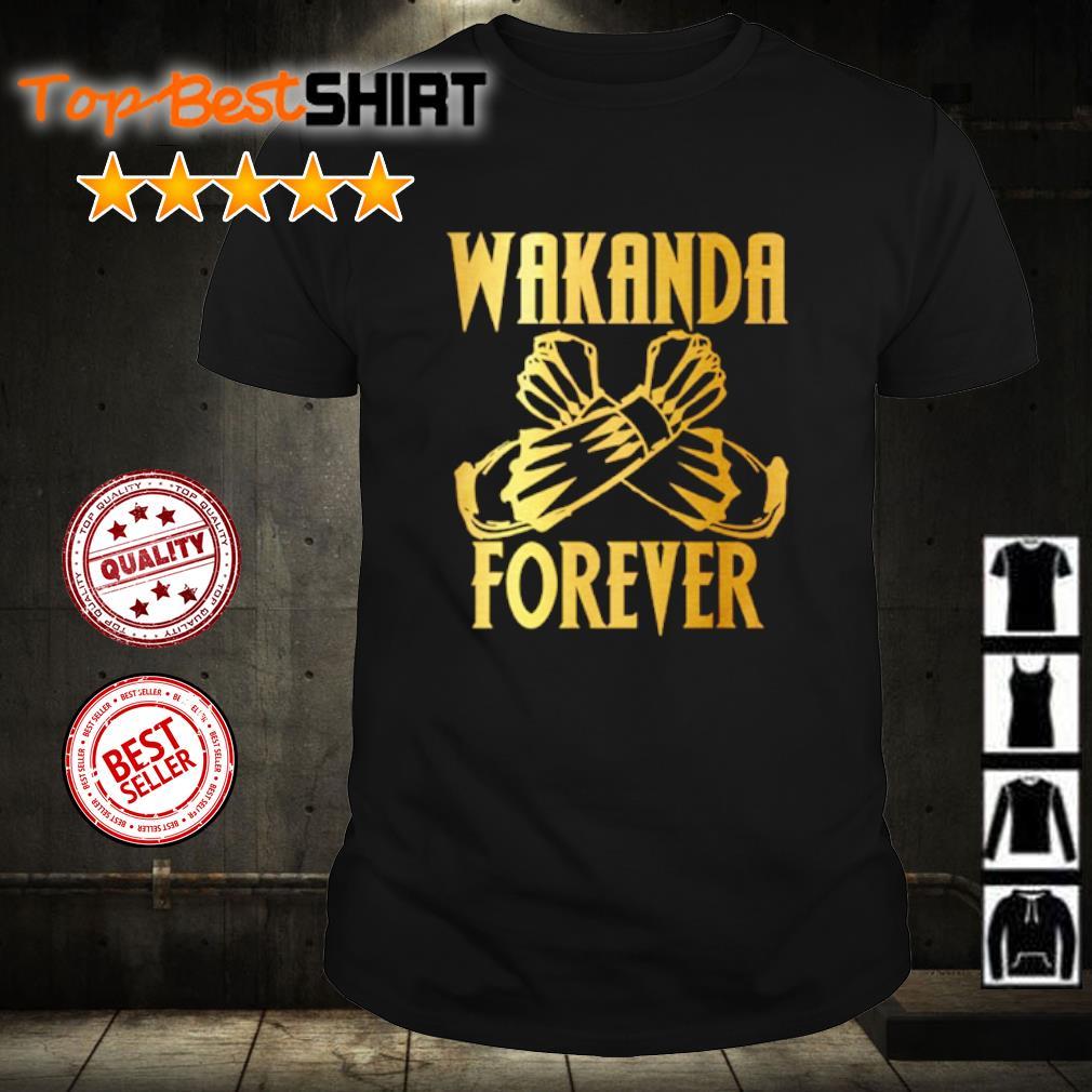RIP Chadwick Boseman Wakanda Forever Salute gold shirt