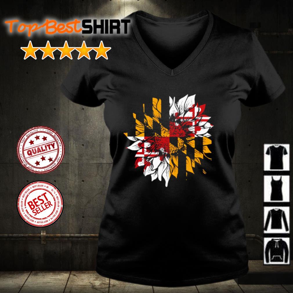 Sunflower Maryland flag s v-neck-t-shirt