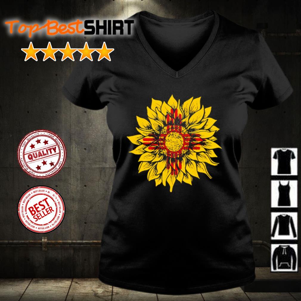 Sunflower New Mexico flag s v-neck-t-shirt