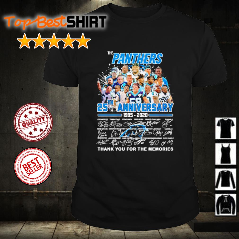 The Carolina Panthers 25th anniversary 1995 2020 thank you for the memories shirt