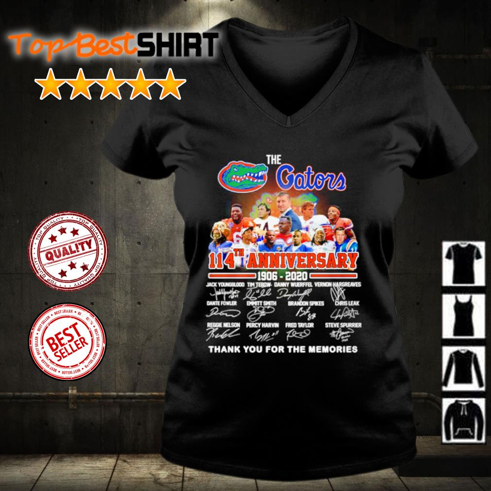 The Florida Gators 114th anniversary 1906 2020 thank you for the memories s v-neck-t-shirt