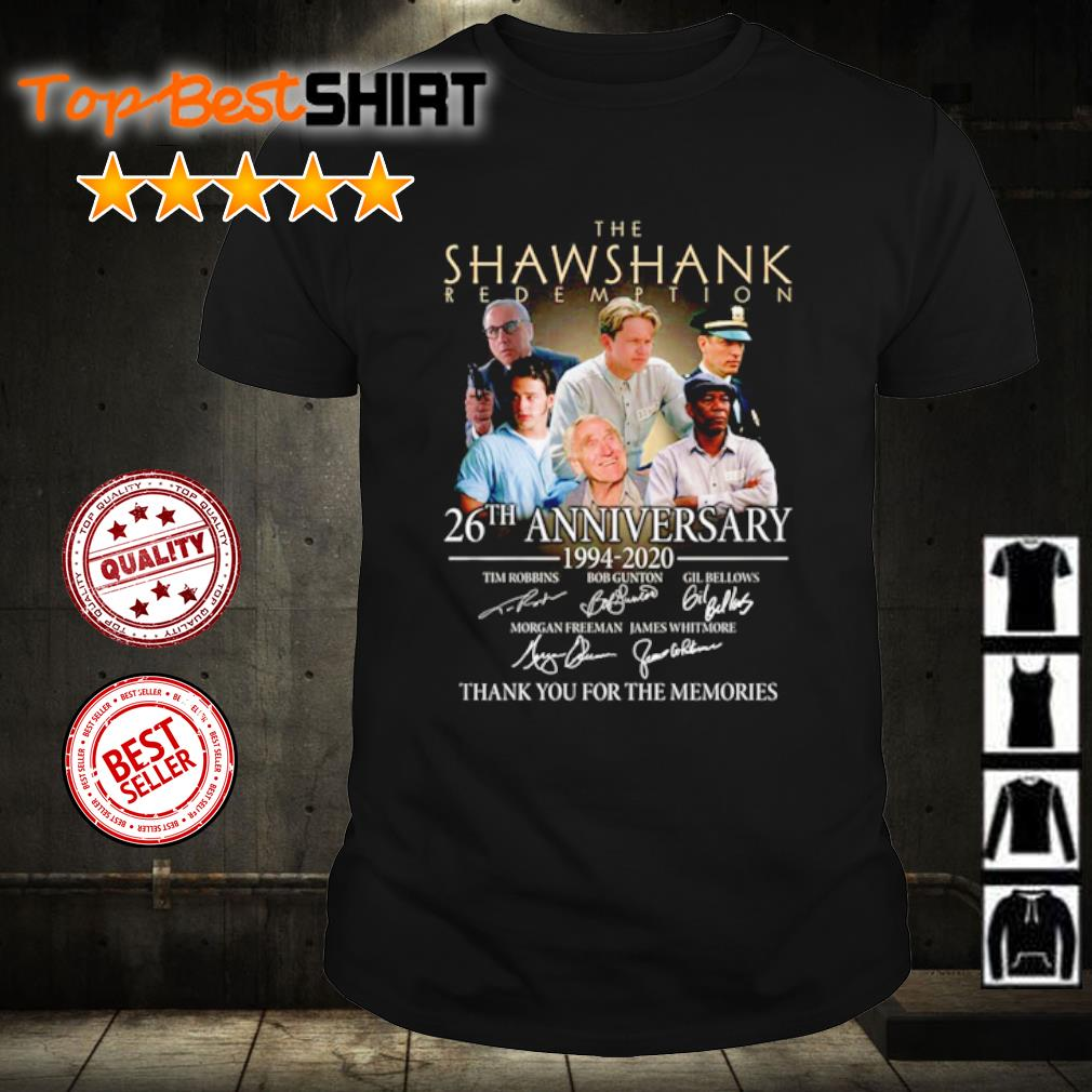 The Shawshank Redemption 26th anniversary 1994 2020 thank you for the memories shirt