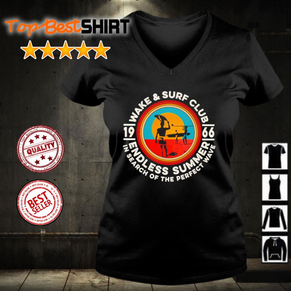 Wake and surf club 1966 endless summer in search of the perfect wave s v-neck-t-shirt