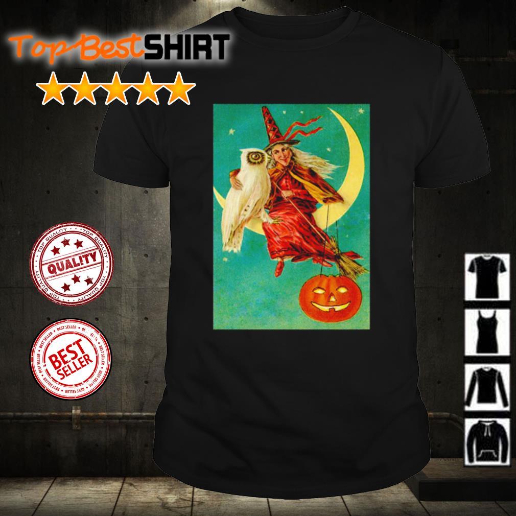 Halloween owl witch pumpkin moon shirt