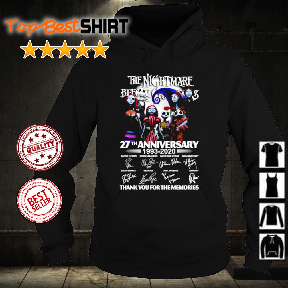 The Nightmare Before Christmas 27th anniversary 1993 2020 thank you for the memories s hoodie