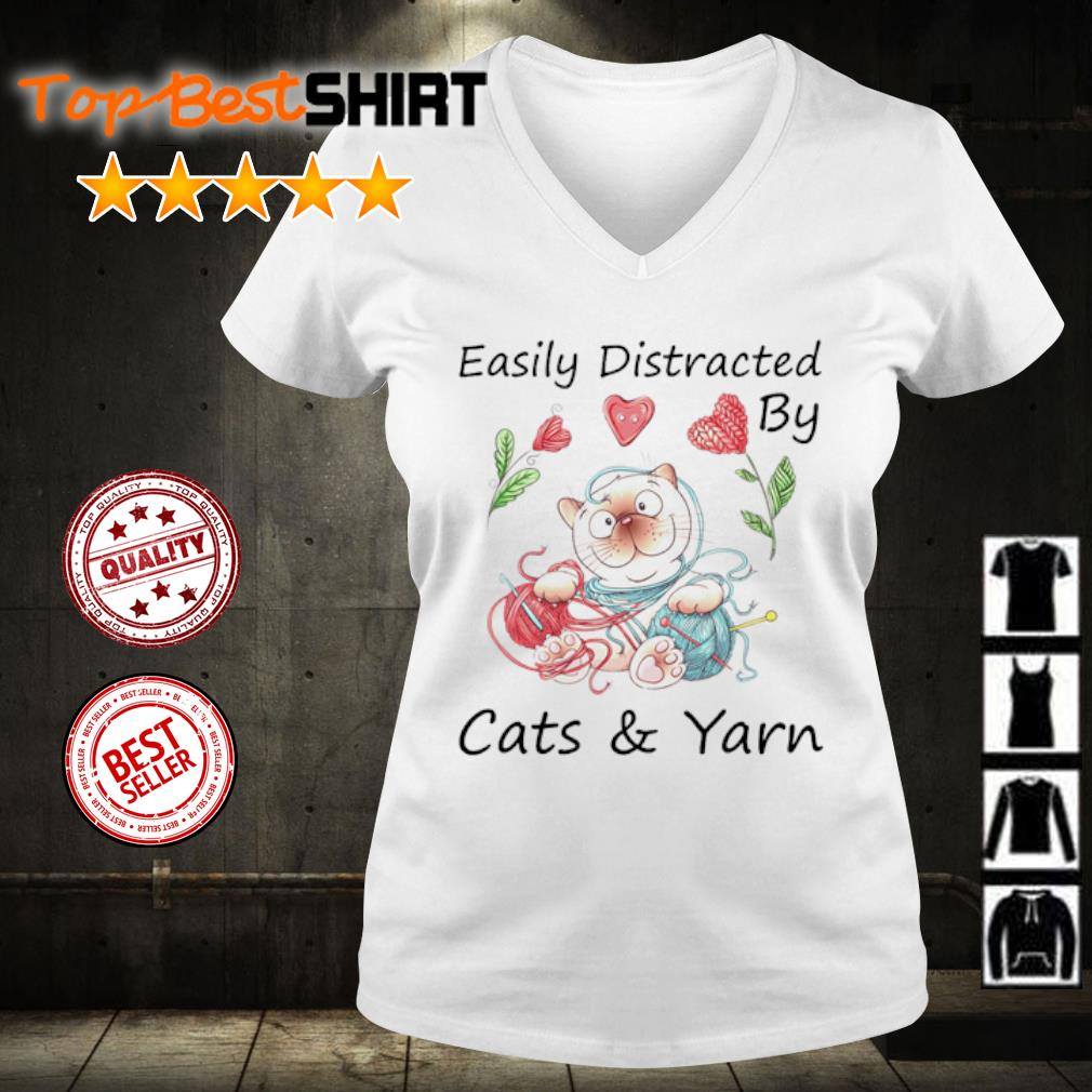 Easily Distracted by cats and yarn s v-neck-t-shirt