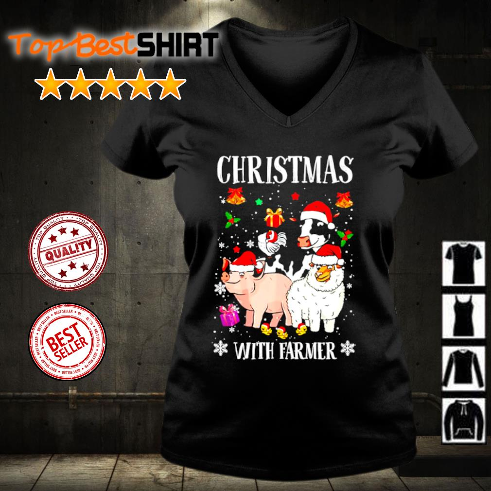 Farmer Christmas With Farmer s v-neck-t-shirt