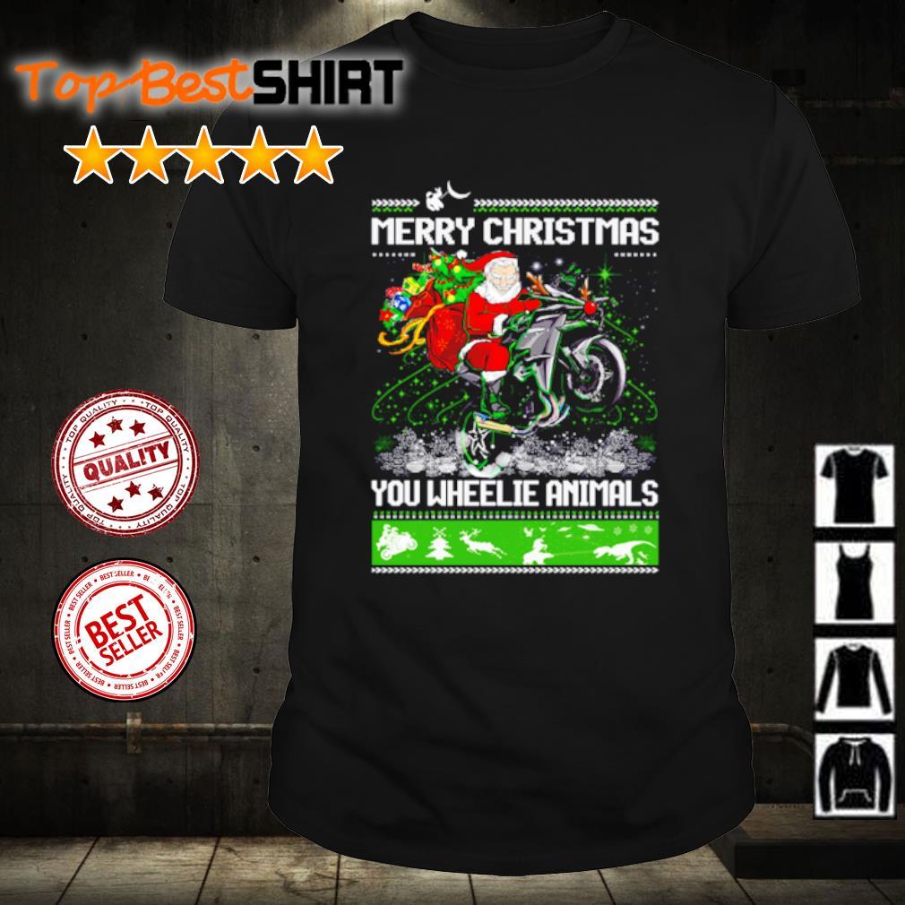 Santa claus Motorcycle merry Christmas you wheelie animals shirt