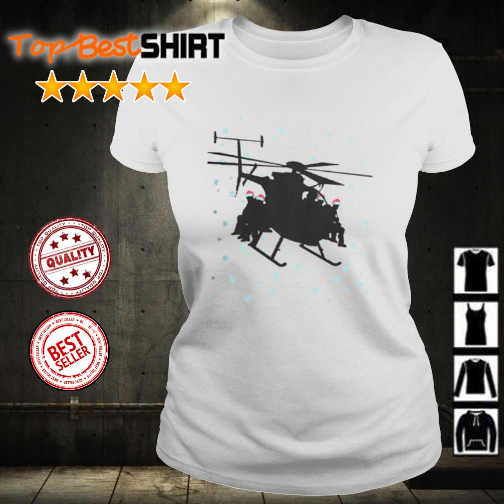 Snowboarding sit on Helicopter Christmas s ladies-tee
