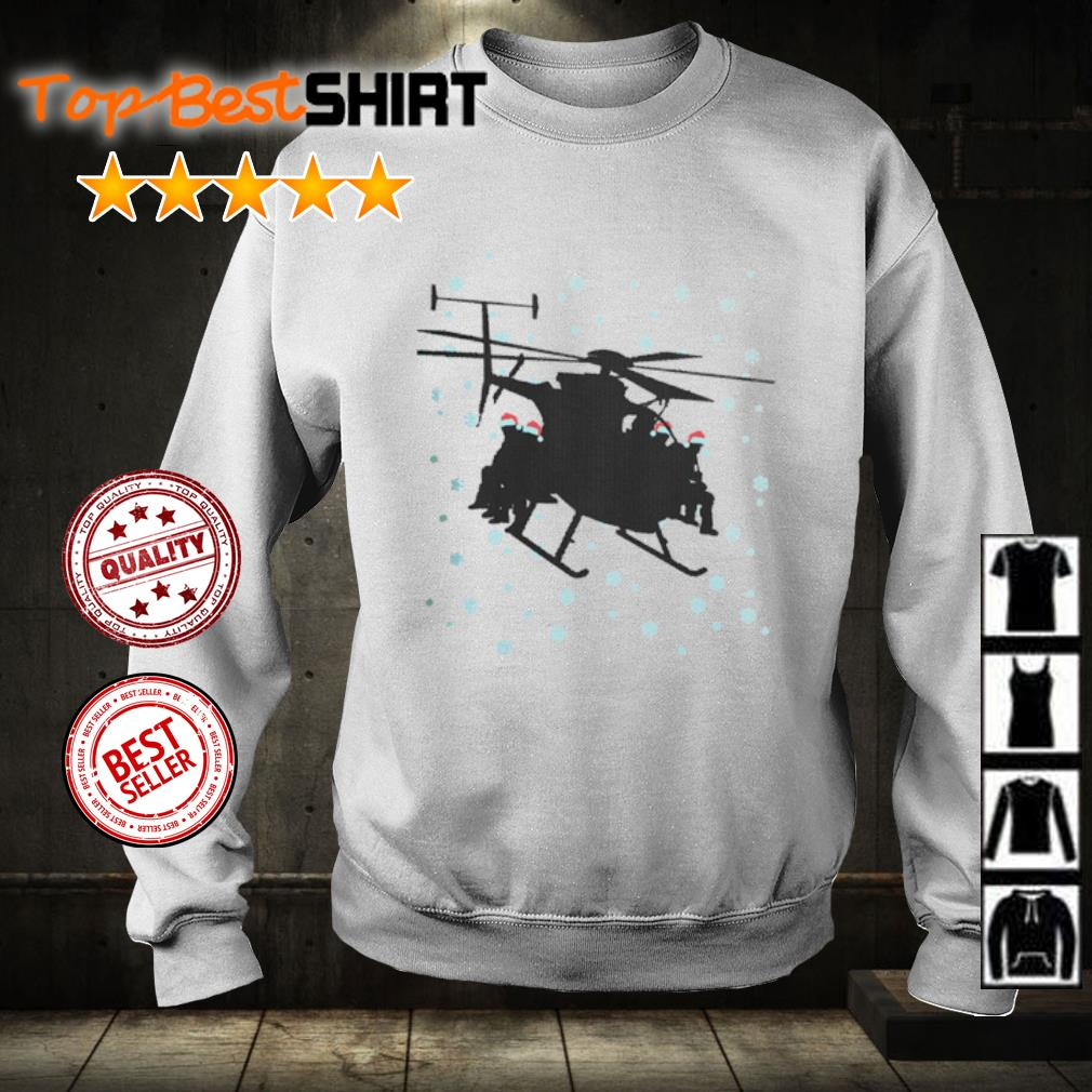 Snowboarding sit on Helicopter Christmas s sweater