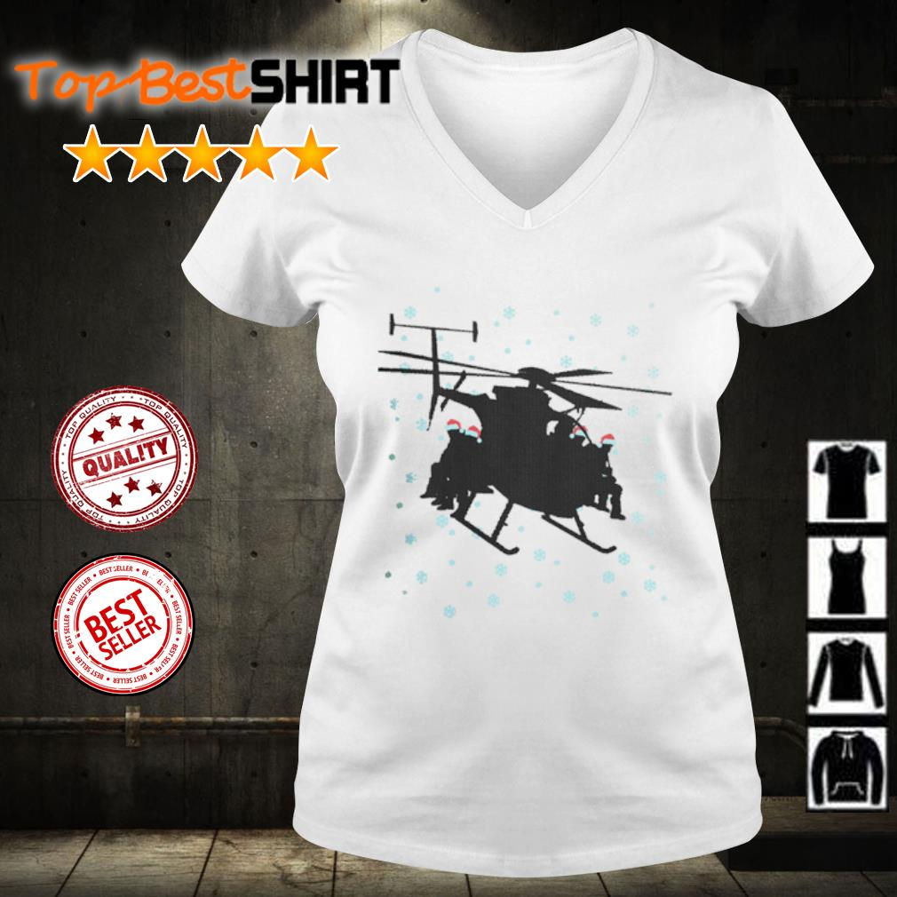 Snowboarding sit on Helicopter Christmas s v-neck-t-shirt