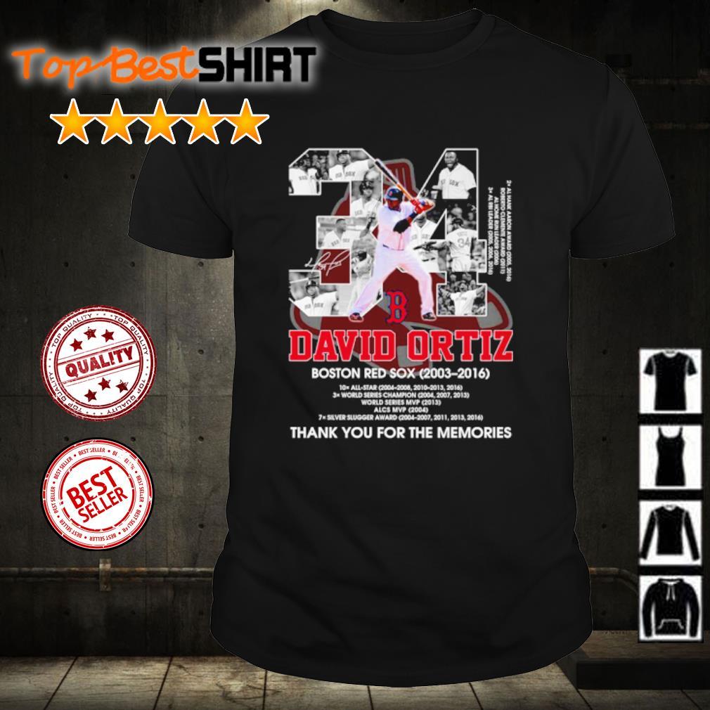 34 David Ortiz Boston Red Sox 2003 2016 thank you for the memories shirt