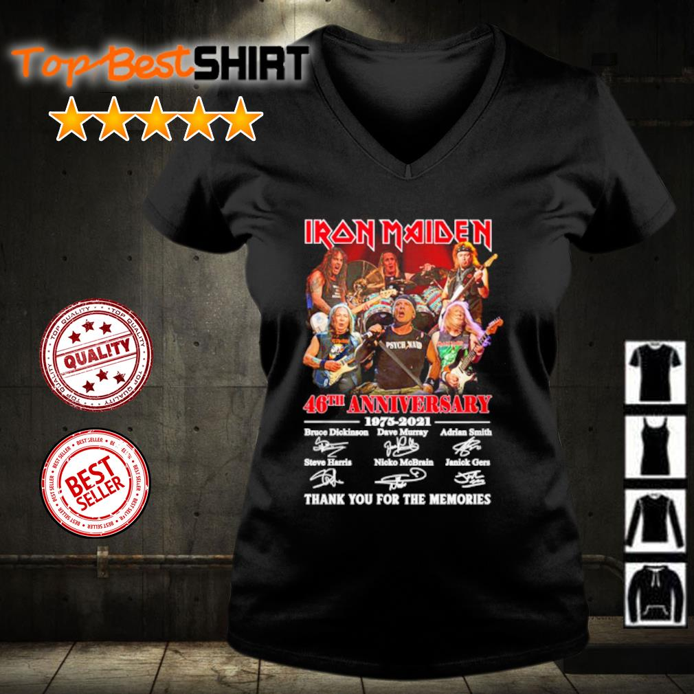 Iron Maiden 46th anniversary 1975 2021 thank you for the memories s v-neck-t-shirt